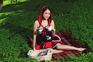 Fotos Weidenkorb Sitzt Kleid Brünette Blick Rotkäppchen Li Moon junge Frauen