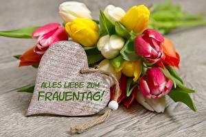 Fotos Internationaler Frauentag Tulpen Deutsch Herz Blumen