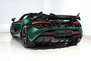 Wallpapers McLaren Back view Green Metallic Reinforced polymer plastic Spider, TopCar, Fury, 2020, 720S automobile