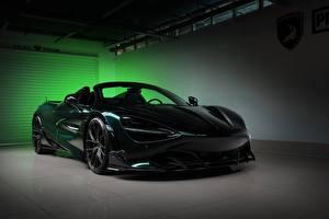 Hintergrundbilder McLaren Grün Metallisch Kohlefaser Roadster Spider, TopCar, Fury, 2020, 720S Autos