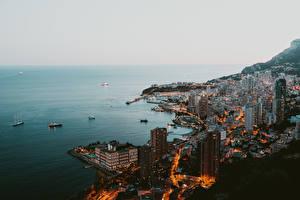 Hintergrundbilder Monaco Küste Haus Monte-Carlo Schiff Morgen Von oben Städte