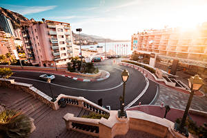 Pictures Monaco Roads Monte Carlo Building Street lights Street Cities