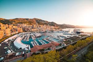 Fotos Monaco Morgendämmerung und Sonnenuntergang Monte-Carlo Bootssteg Schiff Jacht Gebäude Städte