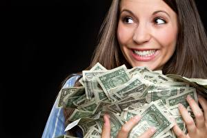 Photo Money Many Paper money Happy Smile young woman