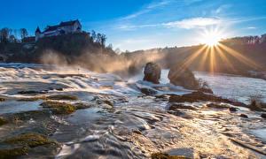 Фото Утро Водопады Швейцария Речка Солнца Лучи света Rheinfall, Schaffhausen
