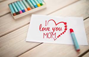 Bilder Muttertag Bretter Blatt Papier Herz Wort Englisch