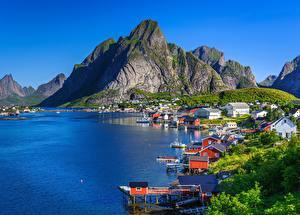 Fotos Berg Lofoten Norwegen Küste Gebäude