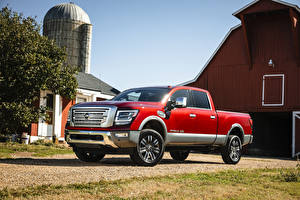 Wallpapers Nissan Sport utility vehicle Pickup Red 2020 Titan XD Platinum Reserve Crew Cab automobile