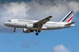 Bilder Flugzeuge Verkehrsflugzeug Airbus Seitlich A319, Airfrance Luftfahrt