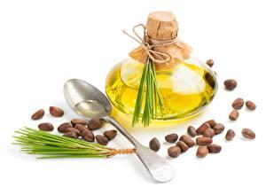 Fondos de Pantalla El fondo blanco Botella Cuchara Cereal Aceite Pine nuts Alimentos imágenes