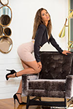 Wallpaper Playboy Gia Ramey-Gay Wing chair Posing Legs Beautiful Frock Brown haired Staring young woman