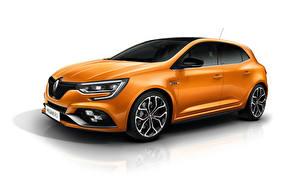 Bilder Renault Weißer hintergrund Orange Metallisch Megane R.S. Sport chassis auto