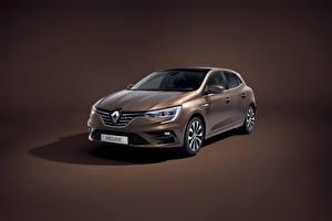 Bakgrundsbilder på skrivbordet Renault Färgad bakgrund Metallisk Sedan Brun Megane Worldwide 2020 Bilar