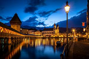 Wallpaper River Bridge Building Church Switzerland Night time Street lights Towers