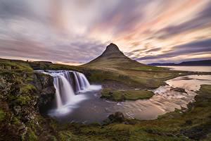 Hintergrundbilder Fluss Berg Wasserfall Island Kirkjufell, Kirkjufellsfoss Natur