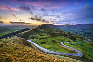 Fotos Straße Himmel England Landschaftsfotografie Hügel Wolke Mam Tor, Peak District, Derbyshire