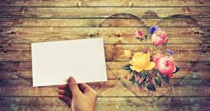 Bilder Rosen Blatt Papier Hand Herz Bretter Vorlage Grußkarte Blumen