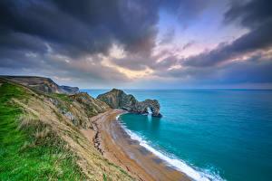 Bilder Meer Küste England Felsen Wolke Durdle Door, Dorset Natur