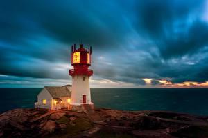 Обои Море Небо Маяки Норвегия Облачно Lindesnes Lighthouse, Skagerrak Strait Природа