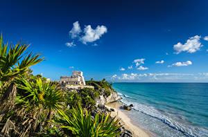 デスクトップの壁紙、、空、海岸、メキシコ、雲、ヤシ、Tulum, Quintana Roo、自然