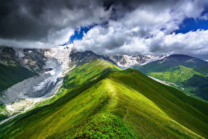Bilder Himmel Berg Georgien Wolke Schnee Chkhutnieri Pass, Upper Svaneti Natur