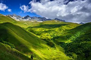 Bilder Himmel Berg Georgien Wolke Hügel Near Tetnuldi, Upper Svaneti Natur