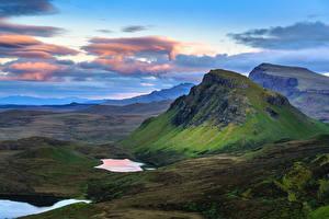 Bilder Himmel Berg Schottland Wolke Isle of Skye, Hebrides, Quiraing Natur