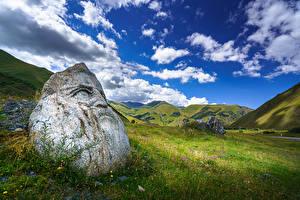 Bilder Himmel Gebirge Steine Georgien Grünland Wolke Upper Svaneti, Sno