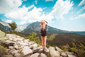 Photo Stones Sky Trail Blonde girl Legs Back view Nature