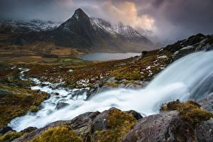 Bilder Stein Wasserfall Berg Vereinigtes Königreich Landschaftsfotografie Wolke Wales Snowdonia National Park, Gwynedd Natur