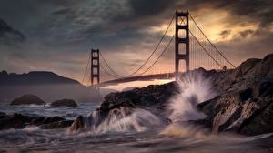 Hintergrundbilder Steine Wasserwelle Brücke USA Felsen San Francisco Kalifornien Golden Gate Bridge