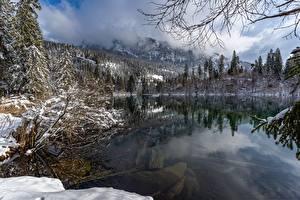 Sfondi desktop Svizzera Lago Inverno Neve Lake Cresta Natura