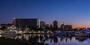 Images USA Building River Berth Riverboat California Night time Shoreline Village in Long Beach Cities