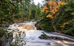 Hintergrundbilder Vereinigte Staaten Parks Herbst Wasserfall Bäume Amnicon Falls State Park
