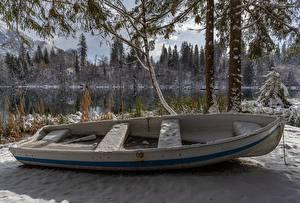 Sfondi desktop Inverno Barche Svizzera Neve Lake Cresta Natura
