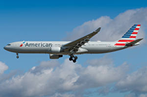 Bilder Airbus Flugzeuge Verkehrsflugzeug Seitlich American Airlines, A330-300 Luftfahrt