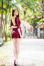 Hintergrundbilder Asiaten Hinten Bein Kleid Braune Haare Schöne junge frau