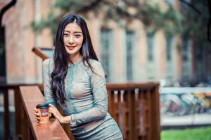 デスクトップの壁紙、、アジア人、ボケ写真、ドレス、微笑み、髪、凝視、若い女性、