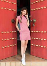 Hintergrundbilder Asiatische Türen Pose Kleid Hand Zopf Braune Haare Blick junge Frauen