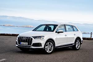 Hintergrundbilder Audi Softroader Weiß Metallisch 2019-20 Q7 50 TDI quattro Worldwide
