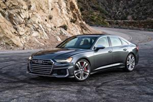 桌面壁纸,,奥迪,灰色,金屬漆,2020 S6 Sedan TFSI,汽车