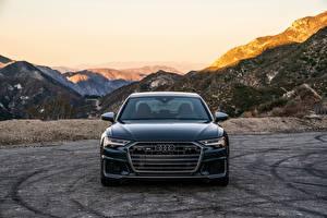 Fotos Audi Berg Vorne Schwarz Metallisch A6, 2020, S6, US-version auto