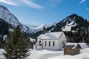 Bilder Österreich Berg Winter Kirchengebäude Alpen Schnee Bergdorf Baad