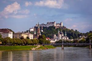 Bureaubladachtergronden Oostenrijk Salzburg Rivieren Bruggen Gebouwen Burcht Steden