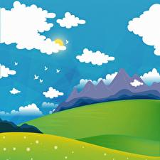 Pictures Bird Mountain Meadow Vector Graphics Sun Clouds Nature