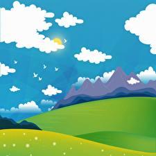 Hintergrundbilder Vogel Berg Grünland Vektorgrafik Sonne Wolke