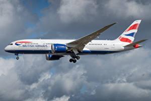 Tapety na pulpit Boeing Samolot Samolot pasażerski Widok z boku British Airways, 787-8