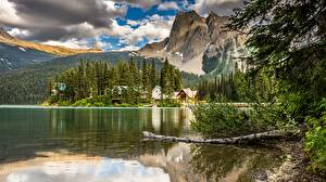 Picture Canada Lake Mountain Forest Landscape photography Reflected Clouds Yoho National Park, Emerald Lake Lodge Nature