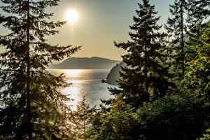 Hintergrundbilder Kanada Parks Morgendämmerung und Sonnenuntergang See Banff Fichten Sonne