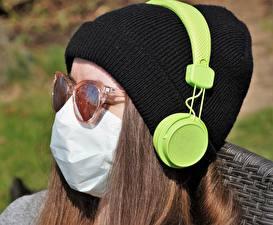 Wallpaper Closeup Masks Coronavirus Head Winter hat Eyeglasses Glasses Young woman Girls
